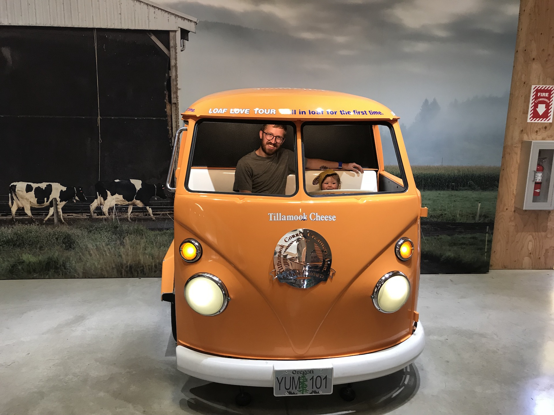 The Tillamook Cheese factory and VW bus photo prop